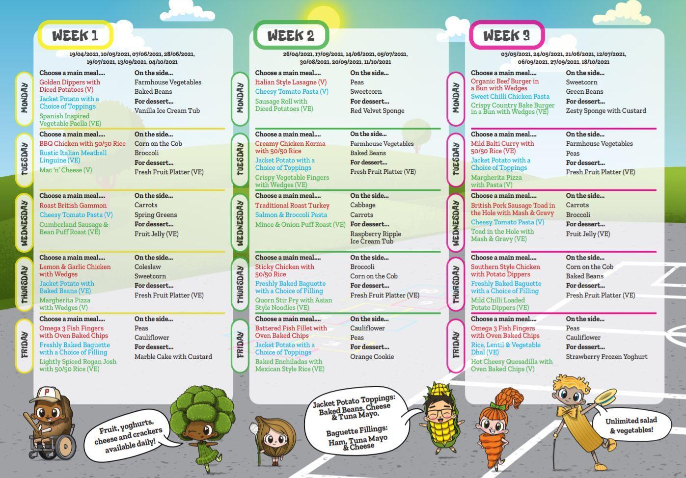 School lunch menu 190421 221021